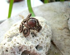 Copper Wire Wrap Swirl Ring with Muscovite by EdisLittleTreasures, $24.00