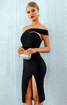 Women Black Sexy One Shoulder Slit Bodycon Dress - S Party Dress Outfits, Winter Fashion Outfits, Summer Outfits, Different Dresses, Celebrity Dresses, Summer Dresses For Women, Aesthetic Clothes, Bodycon Dress, Bandage Dresses