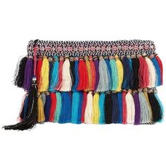 Christophe Sauvat Rainbow Cotton Tassel Fringe Clutch: A rainbow of color and a mix of tasseled fringe gives this clutch its boho chic style. Measures: 11 by 7 . Fabric: lurex Lining: cotton Made in . Tassel Purse, Fringe Purse, Fringe Bags, Fringe Handbags, Purses And Handbags, Dkny Handbags, Stylish Handbags, Rainbow Bag, Tassels