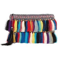 Christophe Sauvat Women's Rainbow Cotton Tassel Fringe Clutch
