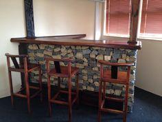 Custom made Gabion bar, with railway sleepers. Railway Sleepers, Gabion Wall, Patio Accessories, Bar Counter, Man Cave, Coffee Shop, Table, Pool Ideas, Fencing