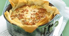 Filo pastry gives this sweet potato and salmon quiche lots of crunch.