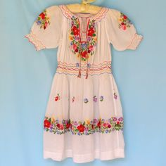 Antique 1920s Child's Hungarian Peasant Dress. Sheer Cotton Floral Embroidery…