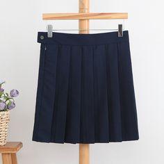 2016 Autumn Female Women Skirts School uniform Skirt Preppy Style Cos SK Fashion Japan Students Skirts Pleated Navy Blue Skirt