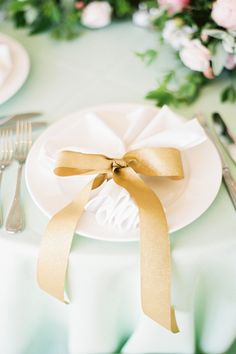 Mint linen and gold ribbon.  Irvington Spring Farm.