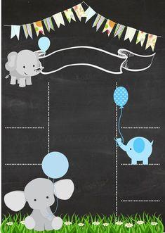 Formato de Chalkboard con tema de elefantes y celeste
