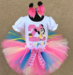 1st Birthday HBB Girls Baby Minnie Mouse Pink. Blue and Yellow Tutu Outfit