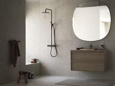 Small Bathroom Inspiration, Bad Inspiration, Bathroom Design Small, Interior Inspiration, Pella Hedeby, Brown Bathroom Decor, Flat Interior, Minimalist Living, Interior Lighting