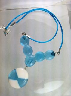 Blue and White Chunky Fused Glass Necklace   Hand Crafted Jewelry