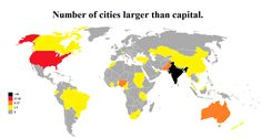 Number of cities larger than the national capital