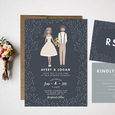 Custom Portrait Wedding Invitation Suite