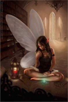 Beautiful Fairy Of Books Poster art by Juan Alberto Art Beautiful Fantasy Art, Beautiful Fairies, Pretty Art, Cute Art, Fairies Photos, Wolf, Fairy Pictures, Amazing Pictures, Fairy Art