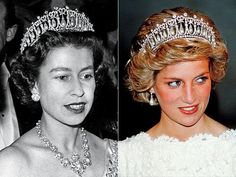 Queen Elizabeth II and her daughter in law Princess Diana of Wales in the Lover's Knot Tiara.