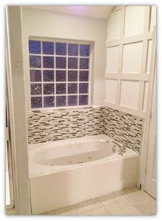 A Pic Of Our New Diy Master Bathroom Bathtub Glass Tile Backsplash