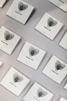 thumbprint hearts and matchbox favors // photo by Alders Photography // View more: http://ruffledblog.com/industrial-los-angeles-wedding/