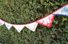 Bunting made of vintage handkerchiefs - 9 feet long available @ www.etsy.com/mysoulfulhome or www.mysoulfulhome.com
