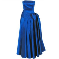 1982 Christian Dior Strapless Blue Satin Numbered-Couture Gown