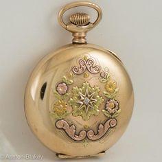 WALTHAM Multi Color 14K gold filled Pocket Watch