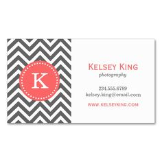 Charcoal Gray and Coral Chevron Custom Monogram Double-Sided Standard Business Cards (Pack Of 100). Make your own business card with this great design. All you need is to add your info to this template. Click the image to try it out!