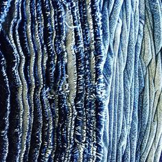 Texture #detail #textileart .  .  .  .  #reclaimed #denim #art #distressedjeans #textileartist #surfacetexture #shredded #blue Denim Art, Textile Artists, Distressed Jeans, Patterns, Detail, Blue, Instagram, Texture Drawing, Drawings