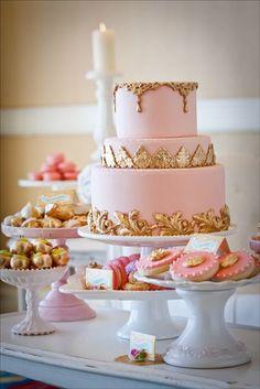 Marie Antoinette Dessert Table #pink #gold #cake