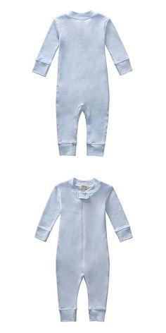 Owlivia Organic Cotton Baby Boy Girl Zip Front Sleep N Play Pajama Sleeper, Footless, Long Sleeve (Size 0-18 Month) (0-3 Months, Blue)