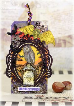 #cre8time for an Owl Be Watching Tag. #Stampendous #Halloween #Owl
