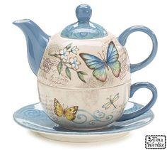 Butterfly Garden Duo Teapot, Teacup, Saucer- Good Mother's Day Gift Ideas
