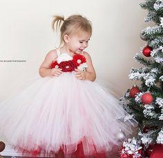 Flower Girl Tutu Dress, Girls Tutu Dress, Holiday Tutu Dress, Christmas Tutu Dress, Photo Prop Tutu, Wedding Tutu Dress, Over The Top Tutu - pinned by pin4etsy.com