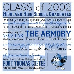 High School/ College Class Reunion- Blue & White Highlands Bluebirds, Customizable 5.25 x 5.25 Square Invitation by BluegrassWhimsy, $15.00