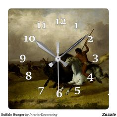 Buffalo Hunger Square Wall Clock