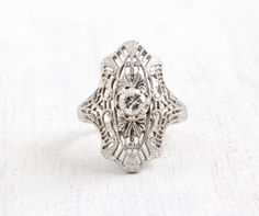 Antique 10K White Gold Diamond Shield Ring  by MaejeanVintage, $575.00
