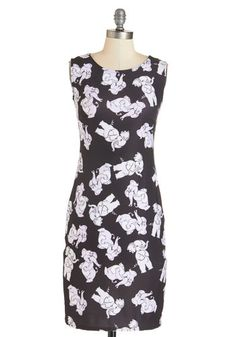Take Me to Trunky Town Dress - Black, Grey, Print with Animals, Print, Casual, Critters, Bodycon / Bandage, Sleeveless, Knit, Good, Mid-length, Quirky