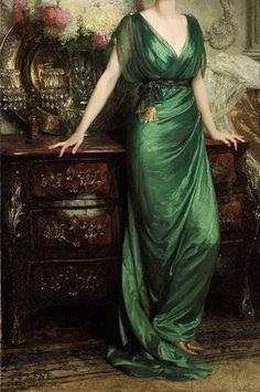 Mrs Ernst Guiness (detail) - Sir Francis Bernard Dicksee (1853-1928) Robes Vintage, Vintage Dresses, Vintage Outfits, Vintage Fashion, French Fashion, Modest Fashion, Hijab Fashion, Fashion Fashion, Korean Fashion
