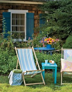 Watch the clouds drift in sling chairs that can be fitted with weatherproof fabric in any hue.