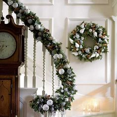 love this hallway staircase garland christmas stairs decorations christmas hallway staircase decoration - Christmas Decorations For Stairs Banisters