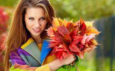 Kobieta, Jesień, Bukiet, Liście