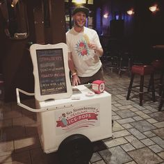 """Need a smaller push-cart for your event? The Six Strawberries """"Paleta"""" Carts are perfect for popsicle catering with a smaller footprint. Six Strawberries Artisan Ice-Pops are available for catering year-round. Handcrafted in Seattle, WA. & always dairy-free :)"""