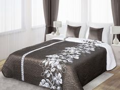 Bielo-hnedý prehoz Gali je dostupný v troch rozmeroch: 170x210, 220x240 alebo 230x260 cm.