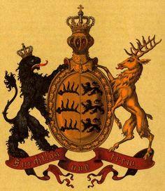 """Kingdom of Württemberg, """"Deutsche Wappenrolle,Wappen von Deutschen Reiches und seiner Bundesstaaten"""" by Hugo Gerhard Ströhl, 1897."""