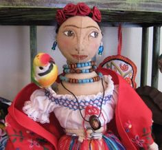 OOAK Frida Kahlo Cloth Sculpted Face Doll by ChicoStudios on Etsy, $150.00