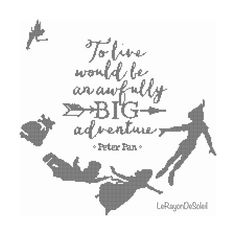 Modern cross stitch pattern Peter Pan Wendy and Co flying with