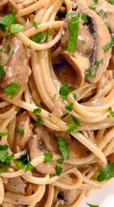 Creamy Chicken & Mushroom Linguine with Marsala