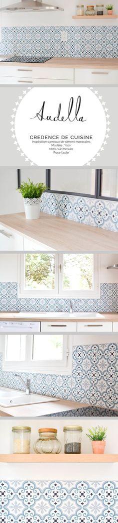 Réalisation d'une crédence de cuisine imitation carreaux de ciment, d'inspiration carreaux marocains. www.audella.fr #credence #cuisine #kitchenbacksplash #pattern #graphic #cementtiles #carreauxdeciment #kitchen #wood #white #light