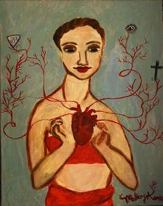 Heartlines Original Acrylic Painting by MarleyKorzenArtShop