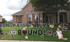 Gig 'Em to this Aggie!! CONGRATS ALLYSON! A&M BOUND! Graduation Yard Signs, Graduation Pictures, Going Away Parties, Yard Design, Grad Parties, Senior Year, Boho Chic, Card Ideas, Random