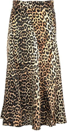 Shop Ganni Blakely Sil Skirt and save up to EXPRESS international shipping! Satin Skirt, Silk Skirt, Easy Halloween Costumes Kids, Leopard Print Skirt, White Tees, Printed Skirts, Couture Fashion, Black Tops, My Style