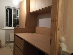 side view of work on cabin bed