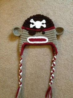 This couldn't be more perfect for Nash!! Crochet Pirate Sock Monkey Hat Baby Toddler Teen Adult Made to Order. $24.00, via Etsy.