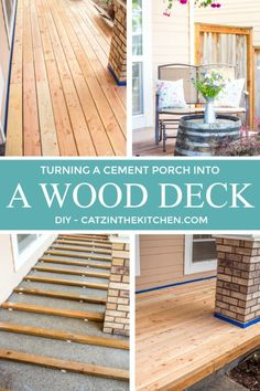 If you've ever thought about turning your cement porch into a wood deck, it's surprisingly easy! Here are some thoughts, tips, & photos from our experience! Deck Over Concrete, Concrete Porch, Cement Patio, Porch Kits, Porch Ideas, Pergola Ideas, Pergola Kits, Cheap Pergola, Pergola Designs